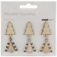 Wood Flourishes 6/Pkg-Mini Christmas Trees
