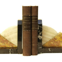 Art Deco Marble Book Ends.