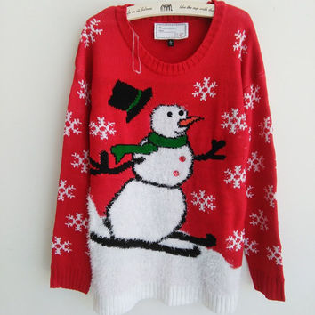 Funny Ugly Christmas Sweaters for Women with Snowman Pattern Girls Xmas Sequins Decorated Pullovers S-L