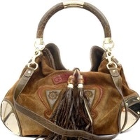 Gucci Indy Crest Brown Suede, Snakeskin & Crocodile Tassel Shoulder Bag