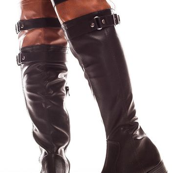 BLACK TAN FAUX LEATHER DOUBLE BUCKLE KNEE HIGH BOOTS
