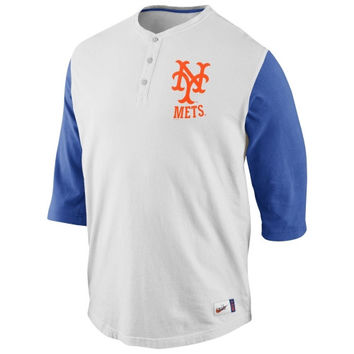 Nike New York Mets Cooperstown Collection Old School Washed Three-Quarter Sleeve Henley - Natural