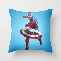 CAPTAIN AMERICA Throw Pillow by Hands In The Sky