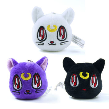 Anime Sailor Moon cat keychain Lunar Artemis Diana Cat plush doll keychain Hang Decorations Plush Toy Key Chain