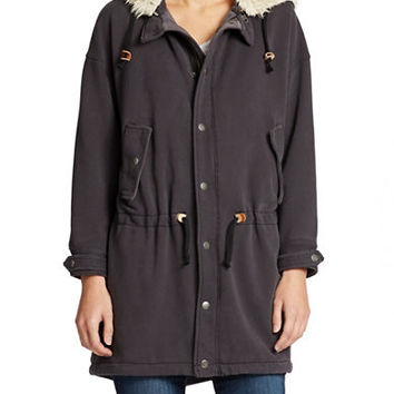 Free People Hooded Jersey Parka
