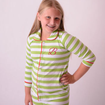Family Christmas Pajamas in Green and White Stripe Monogrammed for Sizes 6 Months to Adult
