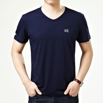 Summer Men Short Sleeve V-neck Men's Fashion Cotton Tops T-shirts