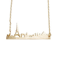 SALE $9.99  Handmade Romantic Gold Silver Paris France Skyline Necklace