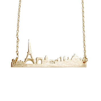 Handmade Romantic Gold Silver Paris France Skyline Necklace