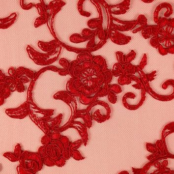 Embroidered Lace Floral Rayon Flower Borders Fabric