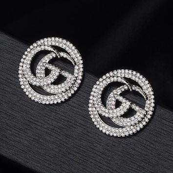 GUCCI S925 Silvery Needle Newest Hot Sale GG Letter Full Diamond Stud Earring Jewelry Accessories