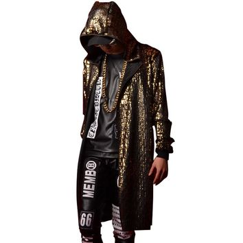 Golden Blue Black Men Women Stage Clothes Hooded Cloak Trench Coat Nightclub Singer Dancer DJ Costumes Male Long Cardigan Jacket