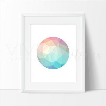 Mint + Coral Geometric Poly Circle