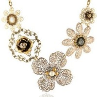 "Lenora Dame ""Romantic"" Floral Filigree Bib Necklace, 22"""