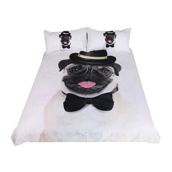 BeddingOutlet Gentleman Pug Bedding Set 3D Animal Bed Cover for Kids Hippie Bulldog Duvet Cover Set Home Bedclothes 3pcs