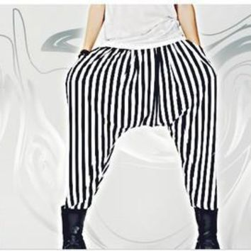 HOT 2017 New Summer loose harem pants black and white stripe low-rise pants plus size clothing hairstylist nightclub costumes