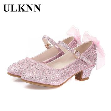 ULKNN Girls Leather Shoes For Kids Rhinestone Low Heel Princess Shoes Girls Sandals Autumn Spring Rubber Party For Children