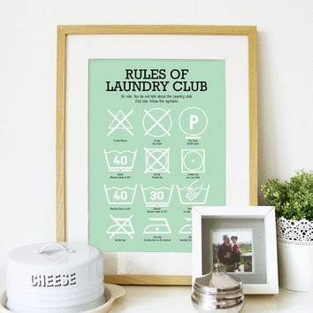 Laundry Room Poster with Laundry Pictograms in Light mint Green - size A3 - cool Laundry decoration Poster kitchen print