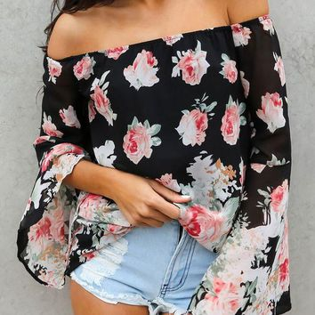 DCCK6HW Floral Print Off Shoulder Long Sleeve Pagoda Sleeve Chiffon Shirt Women Tops