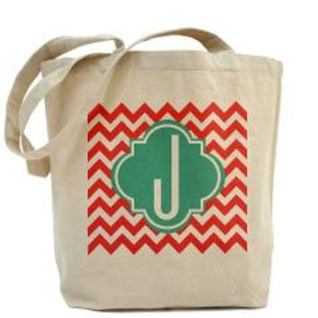 Letter J Chevron Stripes Monogram Tote Bag> Coral Chevron with Turquoise Monogram> Scarebaby Design