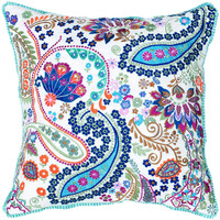 Embroidered Paisley Decorative Pillow