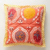 Zocalo Embroidered Euro Sham in Tangerine Orange Euro Sham Size Bedding by Anthropologie