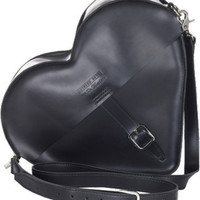 HEART SATCHEL BLACK SMOOTH