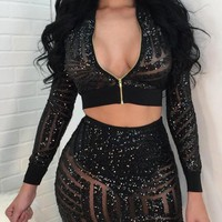 Black Geometric Sequin Grenadine Deep V-neck Sheer Two Piece Clubwear Party Mini Dress