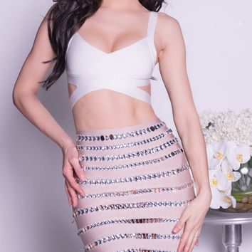 GLAD BANDAGE SKIRT WITH CRYSTALS