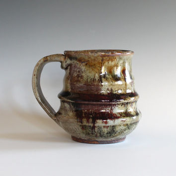 Stonware Mug, 13 oz, handmade ceramic cup, handthrown mug, ceramic stoneware pottery mug unique coffee mug ceramics and pottery