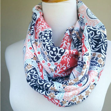 Paisley infinity Scarf,  soft knit tribal scarves