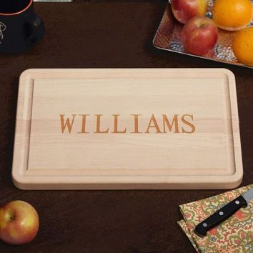 Personalized Classic Cut Rectangle Maple Wood Cutting Board, 10 x 16