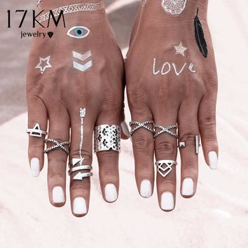 17KM 8PCS\SET Vintage Bohemian Style Vintage Anti Silver Color Rings for Women Tibetan Infinity Arrow Punk Boho Rings Set