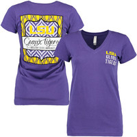 LSU Tigers Women's Patterned Scroll Short Sleeve T-Shirt - Purple