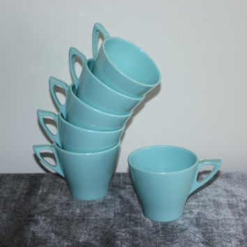 Melmac Contour by Stetson Blue Cups (Set of 6) - Retro kitchen, blue kitchen, vintage mugs