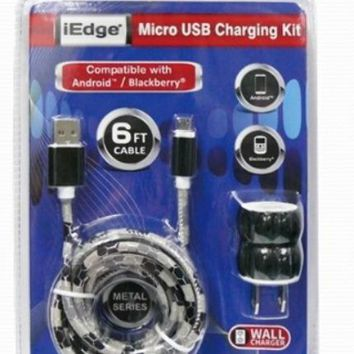 2 in 1 micro home charging kit with leather print cable and 1 port wall charger Case of 48