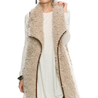 Suede Piping Detail Solid Long Fur Vest With Pocket 70584