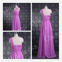 Chiffon A-line One-shoulder Ruffle Cheap Lace-up Long Bridesmaid Dress Party Dress Evening Dress Prom Dress Formal Dress 2014