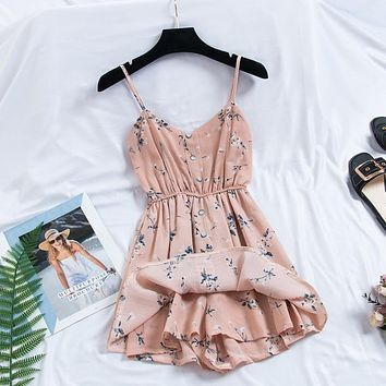2019 New Women's Playsuits sweet Summer Casual Fashion Bohemian Print Thin Strap Sleeveless Jumpsuit Black Overalls for Women