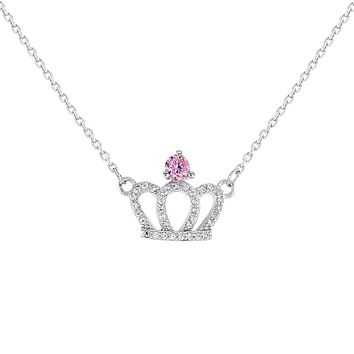 """925 Sterling Silver Pink Clear CZ Princess Crown Necklace Girls Kids 16"""""""