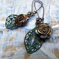 brown Rose earrings Patina dangle earrings Simple jewelry fashion