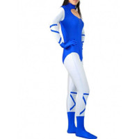 Catsuits & Zentai Lycra Spandex Blue And White Catsuit [TSE110147] - $39.99