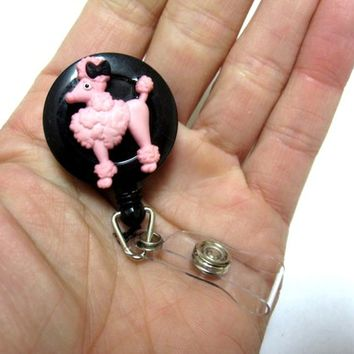 Pink Poodle Dog Retractable ID Badge Reel 50's Style Name Tag Holder