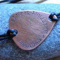 INFINITY Mens Guitar Pick Leather Bracelet-Custom Handstamped Personal Message-Gift for Groom,Boyfriend Gift,Anniversary Gift
