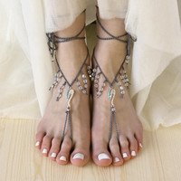 Beaded Barefoot Sandals with Crystals, Boho Beach Wedding Sandles, Sexy Hippie Bare Foot Nude Shoes,  Festival Anklet Jewelry, Yoga