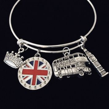 British Flag Jewelry London England Adjustable Bracelet Big Ben Double Decker English Crown Expandable Silver Charm Bangle One Size Fits All Gift