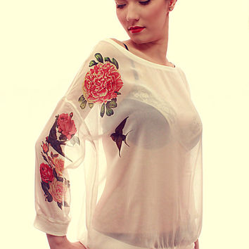 Tattoo Pin up Style Roses and Swallow Print Oversize White Chiffon Transparent Top Free Shipping :)