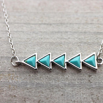 Turquoise chain arrow silver necklace