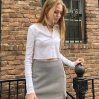 Autumn and winter women's new style short single-breasted long-sleeved sweater