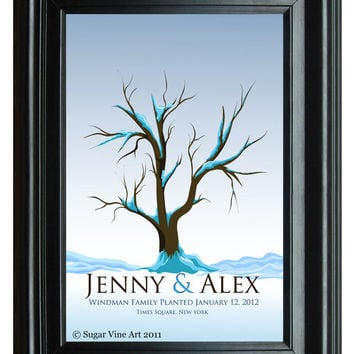 WEDDING TREE winter guest book, fingerprint tree winter guest book, fingerprint guest tree, Thumbprint guestbook, 16x20 num.115